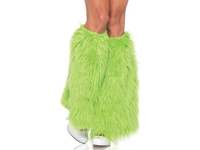 Neon Green Furry Costume Leg Warmers Adult One Size