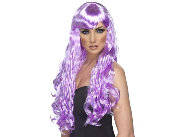 Desire Long Curly Costume Wig Adult Lilac One Size
