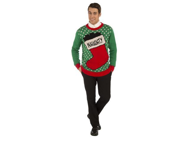 Naughty Stocking Ugly Christmas Sweater Adult X-Large