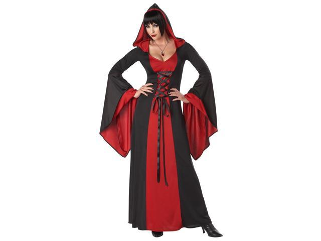 Deluxe Gothic Red Hooded Robe Dress Costume Adult Small 6-8