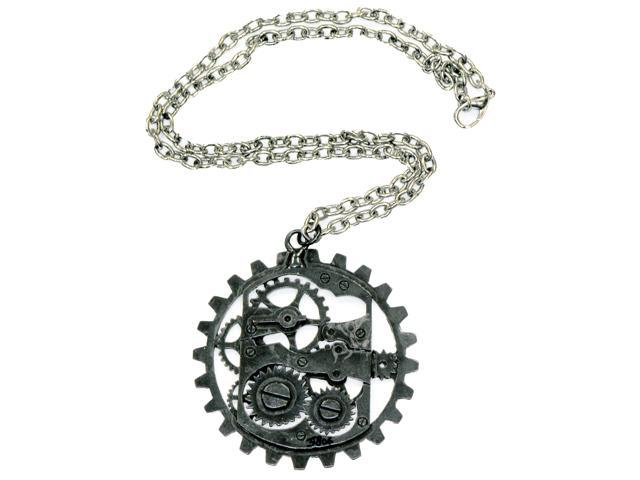 Steampunk Dark Metal Gear Costume Pendant Necklace One Size