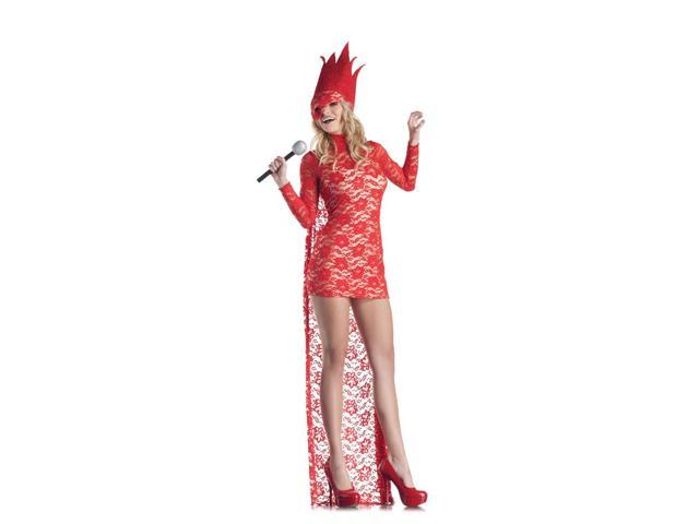 Sexy Red Lace Lady Pop Star Costume Dress Adult X-Large 14-16
