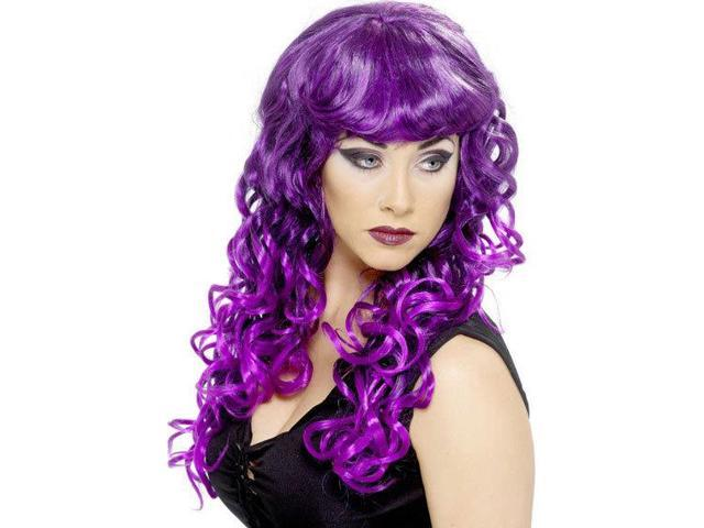 Long Curly Purple And Black Siren Adult Costume Wig One Size
