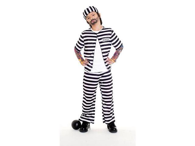 Prison Player Inmate Jail Bird Striped Costume Child Small 4-6
