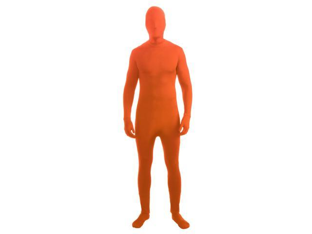 Disappearing Man Stretch Costume Jumpsuit Teen: Neon Orange One Size Fits Most