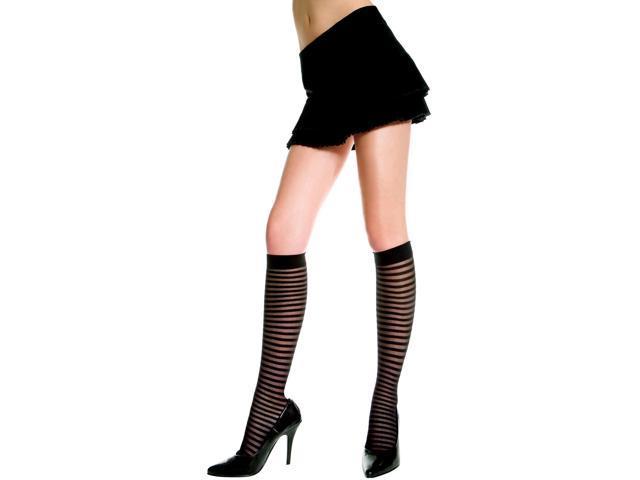 Sheer Vertical Stripe Knee Hi Nylon Costume Hosiery One Size