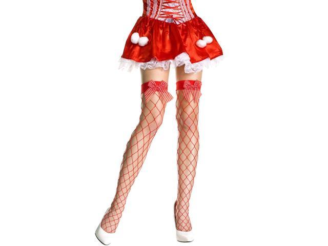 Spandex Fishnet Thigh Hi Nylon With Bow Costume Stocking Hosiery One Size