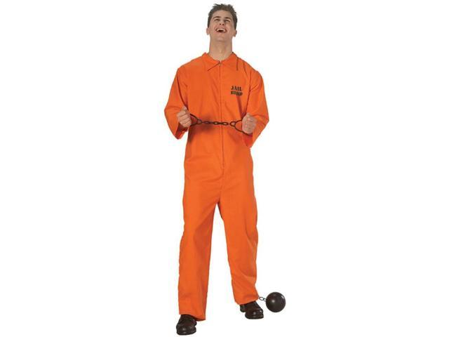 Jail Bird Orange Jumpsuit Prisoner Adult Costume Standard