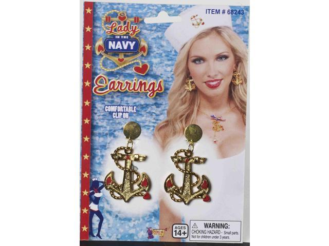 Lady In The Navy Anchor Symbol Costume Earrings One Size
