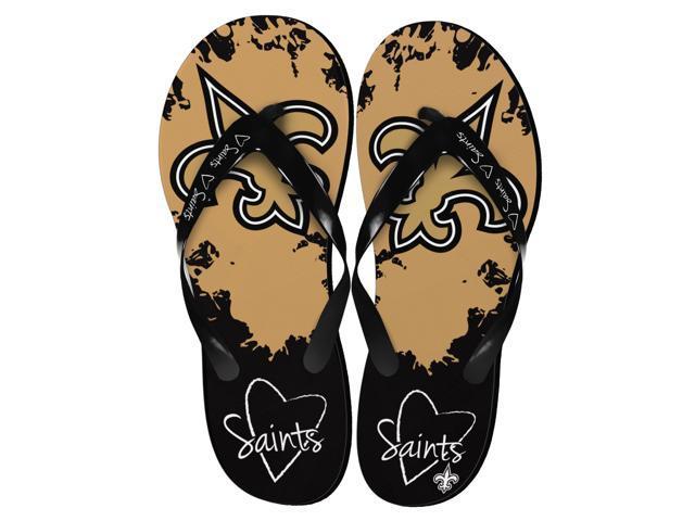 New Orleans Saints NFL Womens Paint Splatter Flip Flops Small 5-6