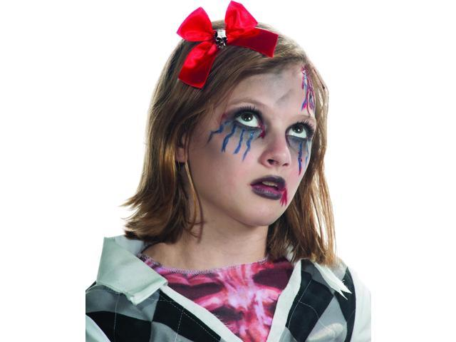 Red Hair Bow & Skull Headband Costume Hair Accessory Child One Size
