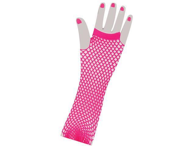 Fishnet Long Fingerless Adult Costume Gloves Pink One Size