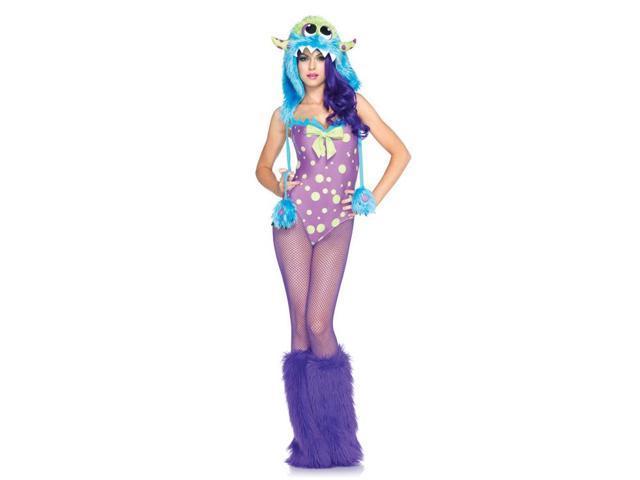 Sexy Flirty Gerty Monster Bodysuit & Fuzzy Hood Costume Adult Small 4-6