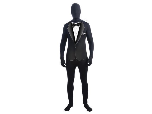 Invisible Man Black Formal Suit Adult Costume Skin Suit X-Large