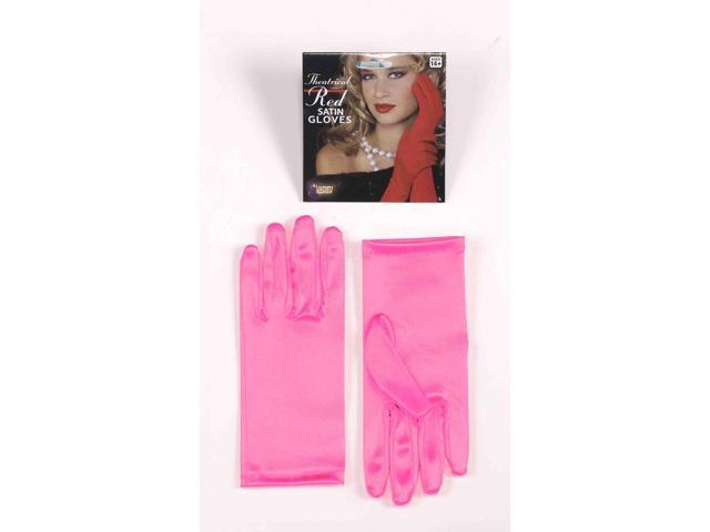 Short Pink Adult Female Costume Dress Gloves One Size Fits Most
