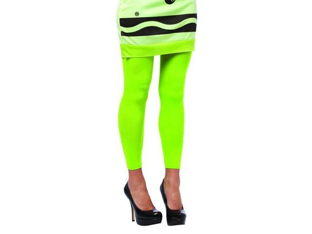 Crayola Screamin' Green Footless Tights Costume Accessory Adult One Size