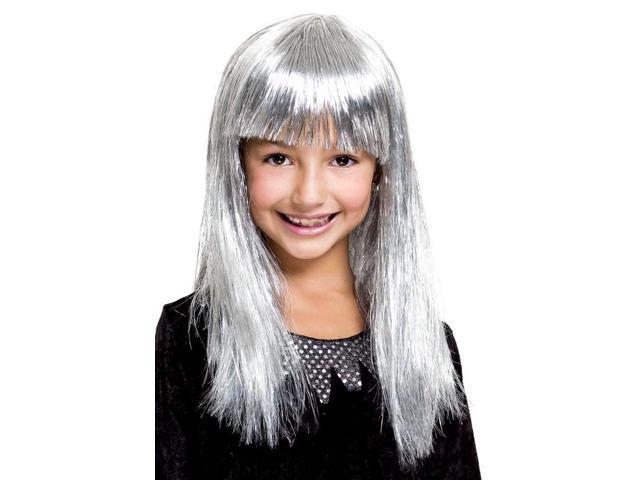 Glitzy Glamour Bob Silver Child Costume Wig One Size