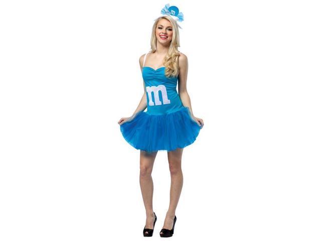M&M's Party Dress Costume Adult: Blue 4-10