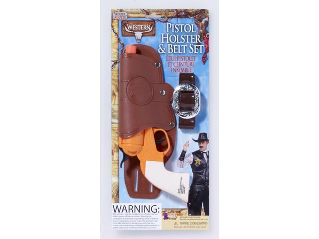 Single Gun Holster & Belt Costume Accessory Set Adult One Size
