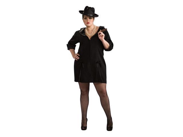 Black Pin Striped Gangster Lady Suit Dress Costume Adult Plus Plus Size