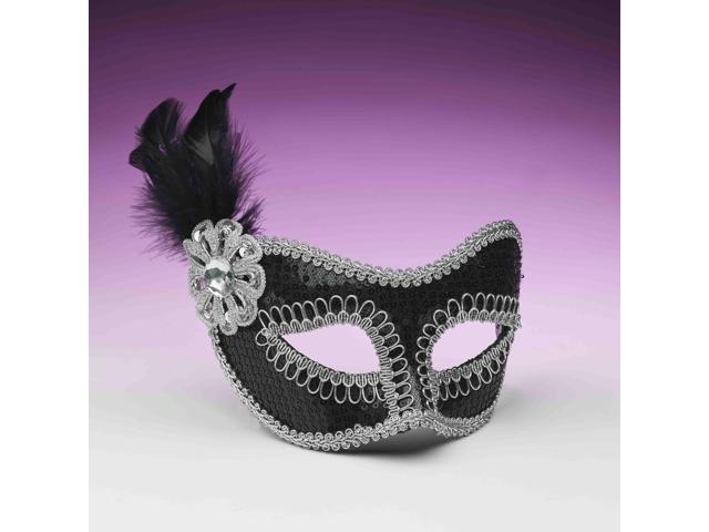 Black And Silver Sequin Costume Fashion Masquerade Mask With Feather One Size