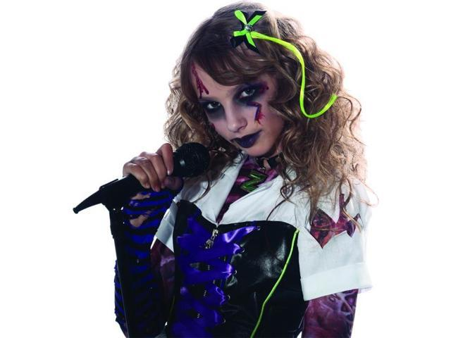 Green Hair Extension & Skull Bow Costume Accessory One Size