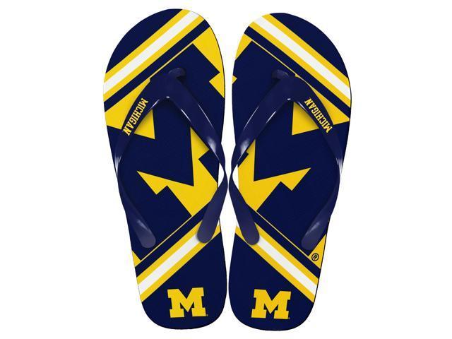 Michigan Wolverines Unisex Big Logo Flip Flops Large (M 9-10)