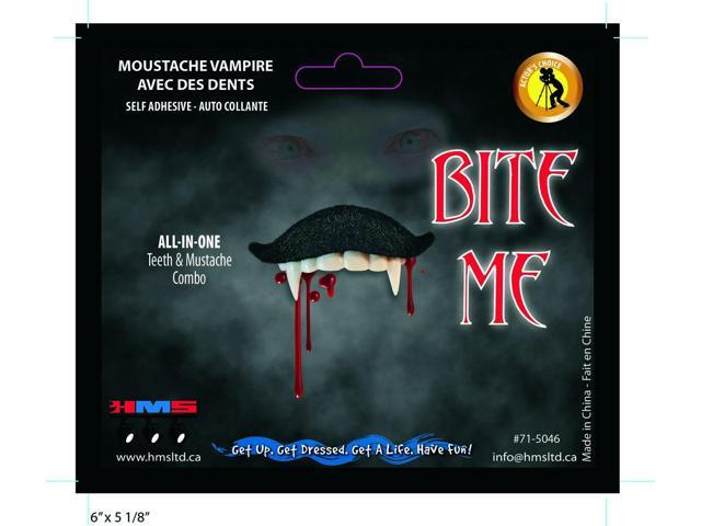 Bite Me Vampire Stache Moustache With Teeth Costume Accessory One Size