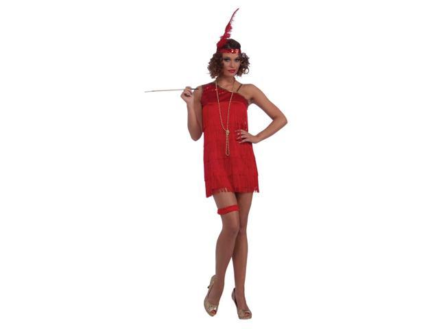 Sexy Red 20's Fringe Flapper Adult Costume One Size Fits Most