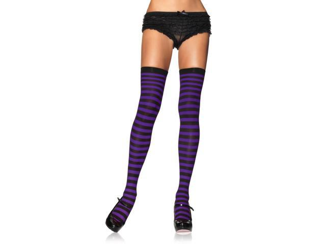 Black & Purple Striped Costume Thigh High Stockings Adult One Size
