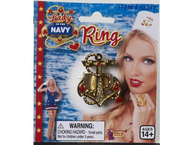 Lady In The Navy Gold Anchor Costume Ring One Size
