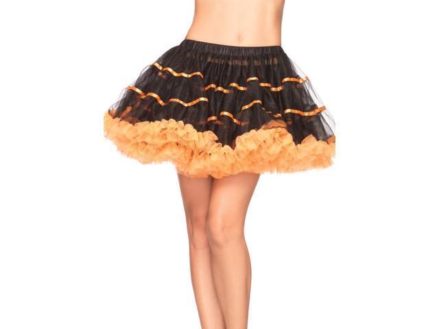 Satin Striped Tulle Costume Petticoat Black & Orange Adult One Size