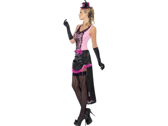 Sexy Burlesque Beauty Costume Dress Adult: Pink & Black Large