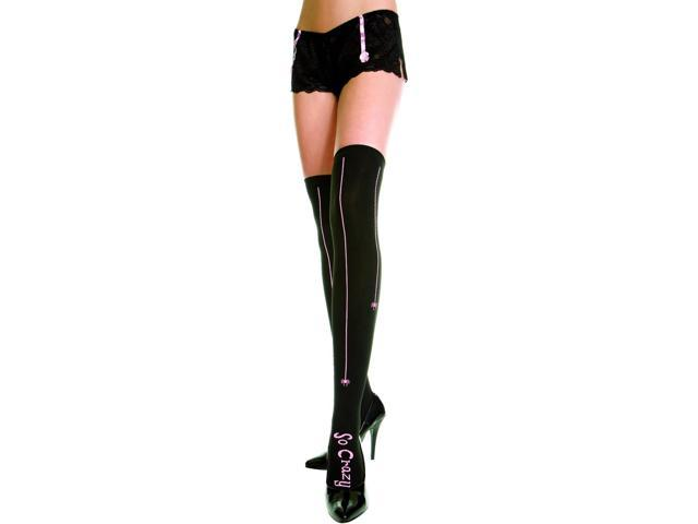 Sexy Opaque Nylon Thigh Hi With Spider Stripe Costume Hosiery One Size
