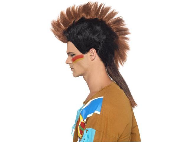 Indian Male Mohican Costume Wig Adult: Brown Black One Size