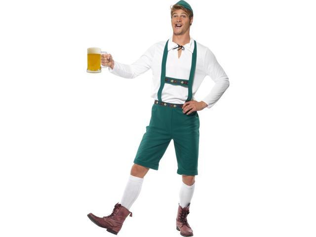 Oktoberfest Lederhosen Costume Adult: Green Medium