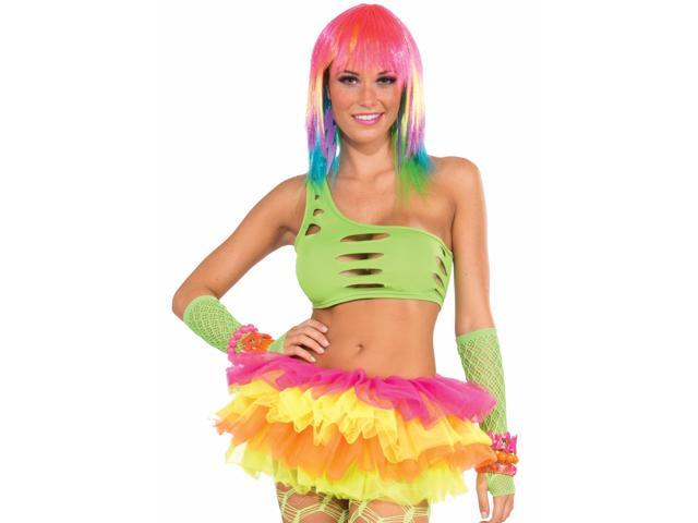 Club Candy Asymmetrical Cut Costume Bra Top Adult: Green One Size