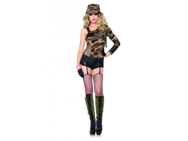 Camo Doll Army Girl Adult Costume Medium