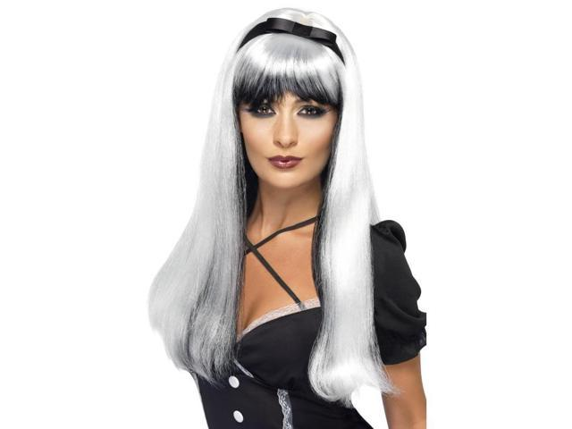 Bewitching Silver Over Black Long Costume Wig One Size