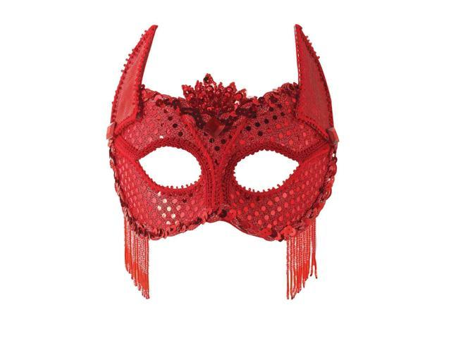 Red Sequin Devil Costume Eye Mask With Horns One Size