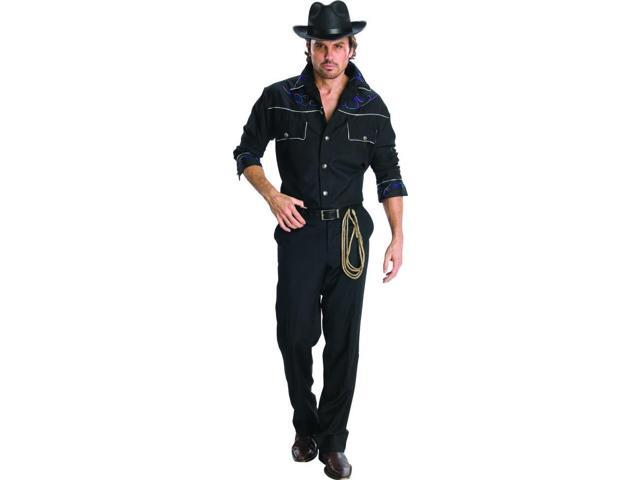 Cowboy Black Shirt & Hat Costume Adult One Size Fits Most Up To 44