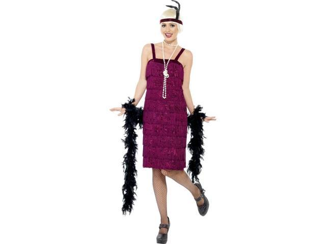 Jazz Flapper Costume Dress Adult: Red/Burgundy X-Large