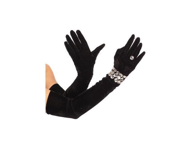 Black Stretch Velvet Opera Length Costume Gloves Faux Bracelet & Ring One Size