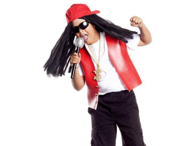 Hip Hop Star Costume Hat & Wig Child One Size