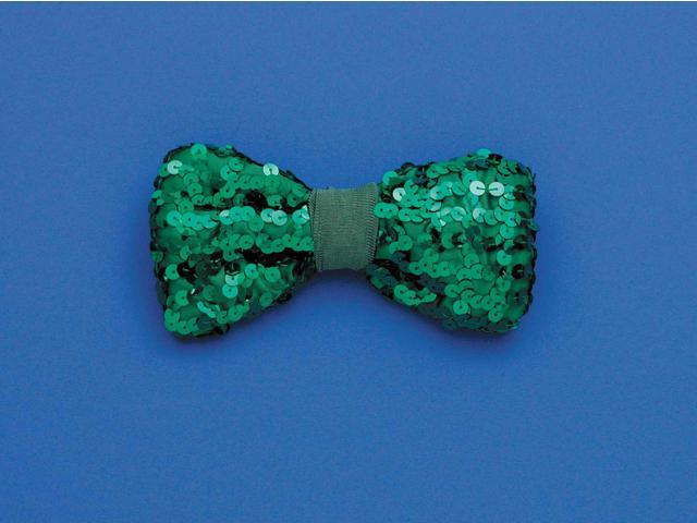 St. Patrick's Green Sequin Costume Bow Tie One Size