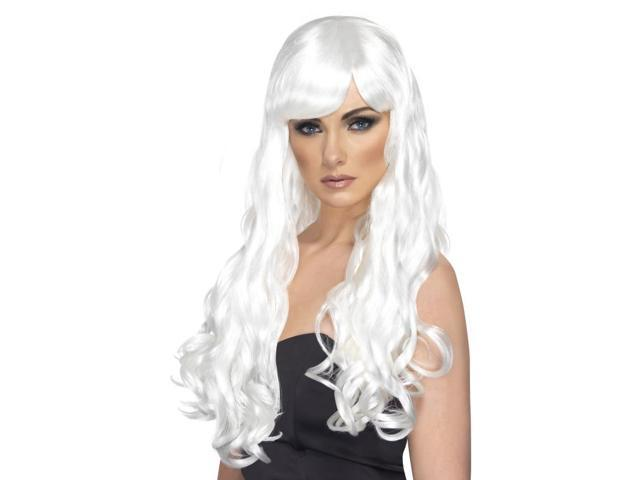 Desire Long Curly Costume Wig Adult White One Size