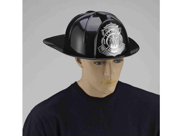 Deluxe Black Fireman Hat Adult Costume Accessory One Size