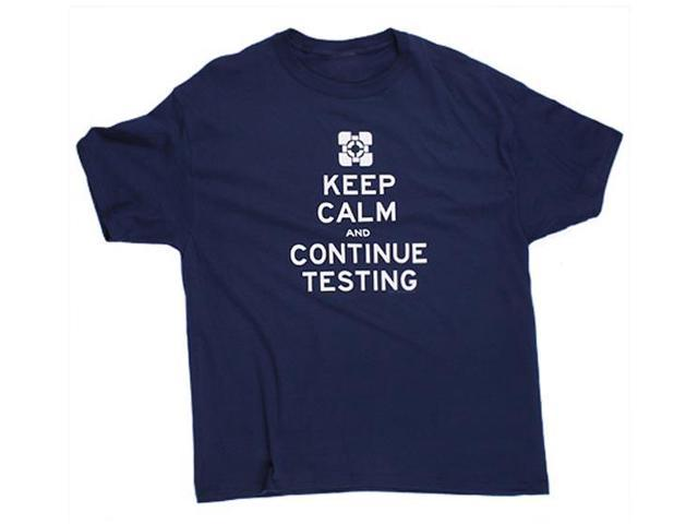 Portal 2 Keep Calm Premium Navy Adult T-Shirt Small