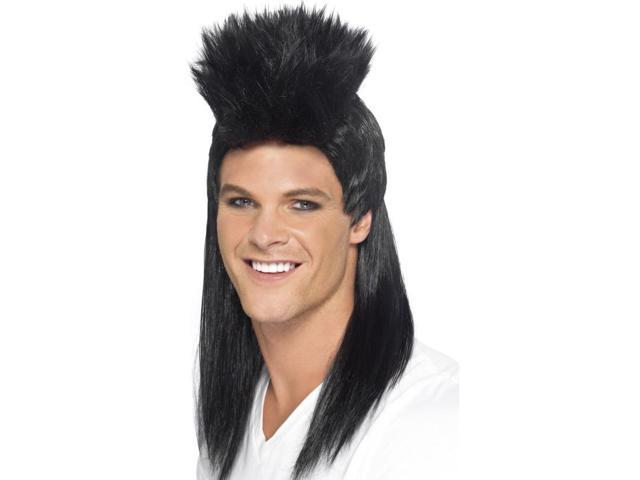 80's Rocker Long Mullet Costume Wig Adult: Black One Size