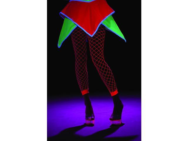 Black Light Activated Pink Fishnet Leggings Costume Hosiery Adult One Size